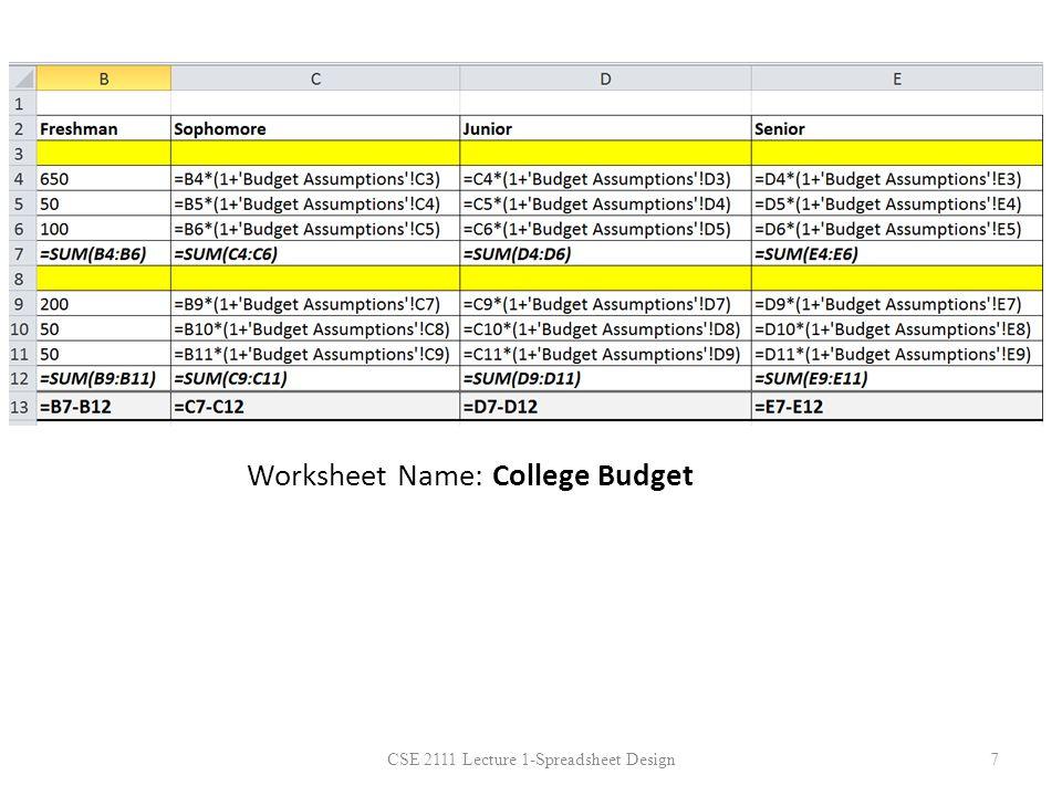 Worksheet Name: College Budget