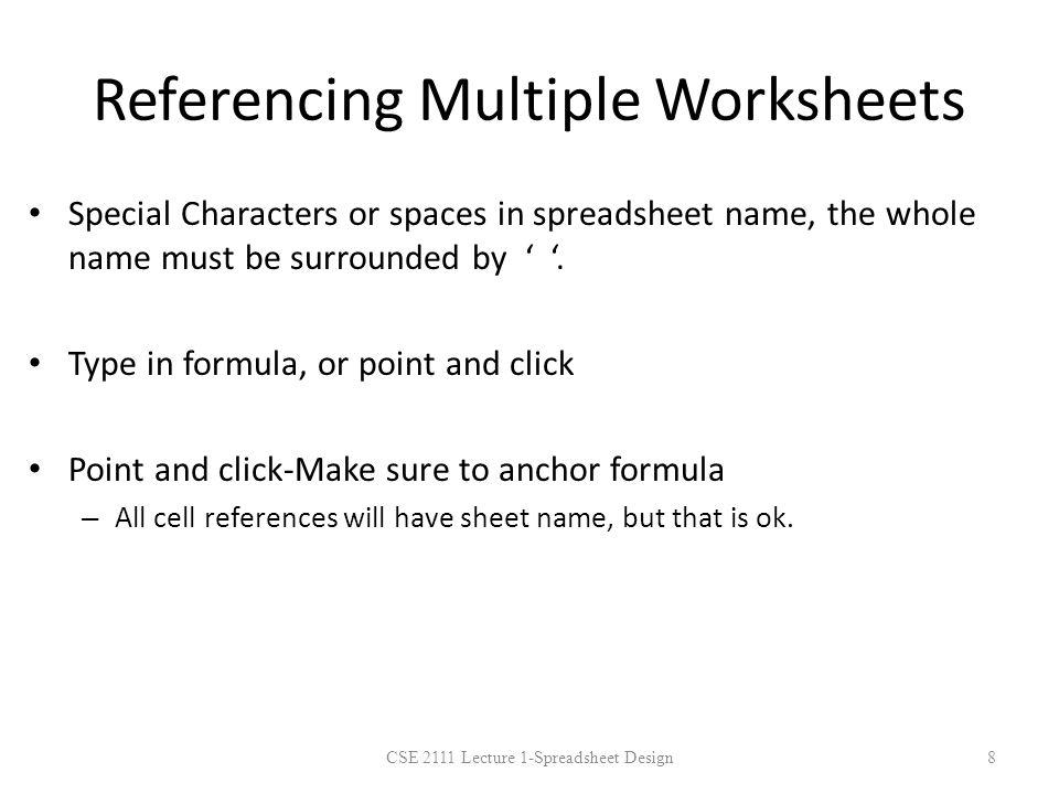 Referencing Multiple Worksheets