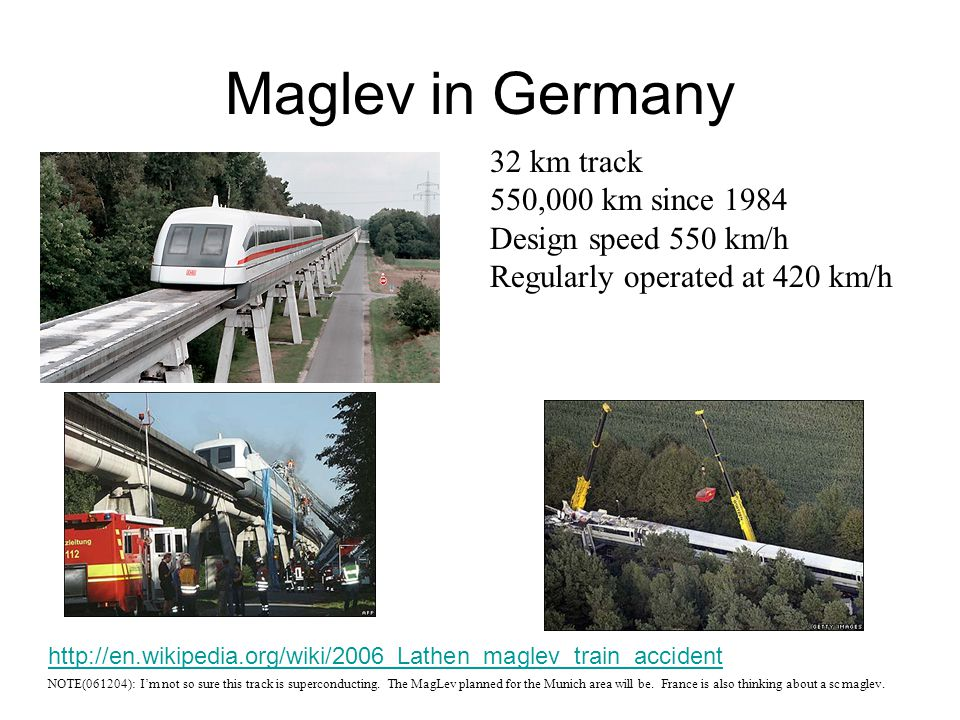Maglev in Germany 32 km track 550,000 km since 1984