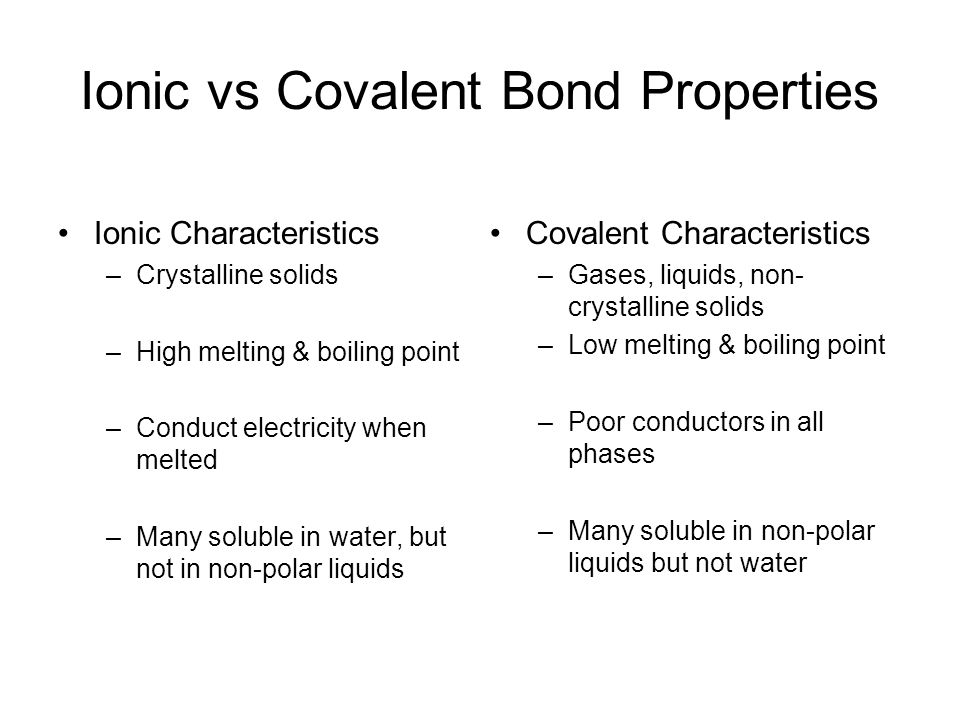 Ionic vs Covalent Bond Properties