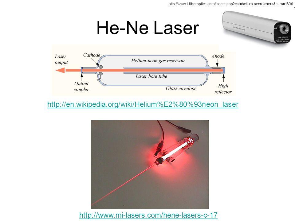He-Ne Laser http://en.wikipedia.org/wiki/Helium%E2%80%93neon_laser