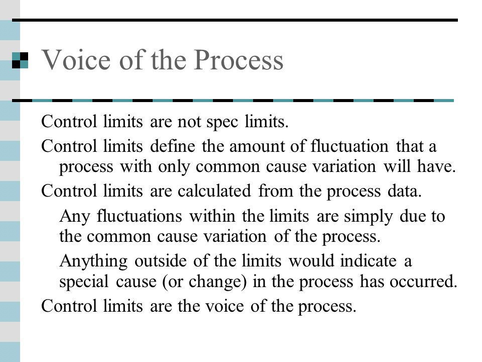 Voice of the Process Control limits are not spec limits.