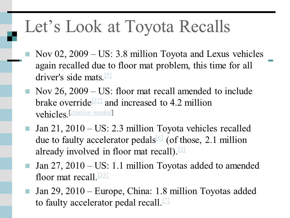 Let's Look at Toyota Recalls