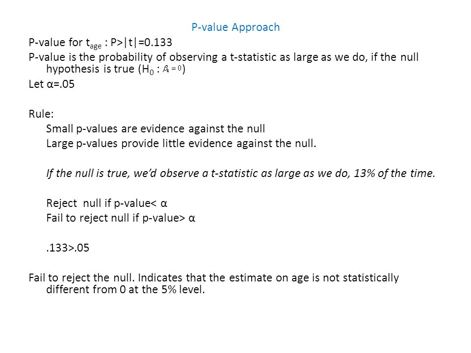 P-value Approach P-value for tage : P>|t|=0