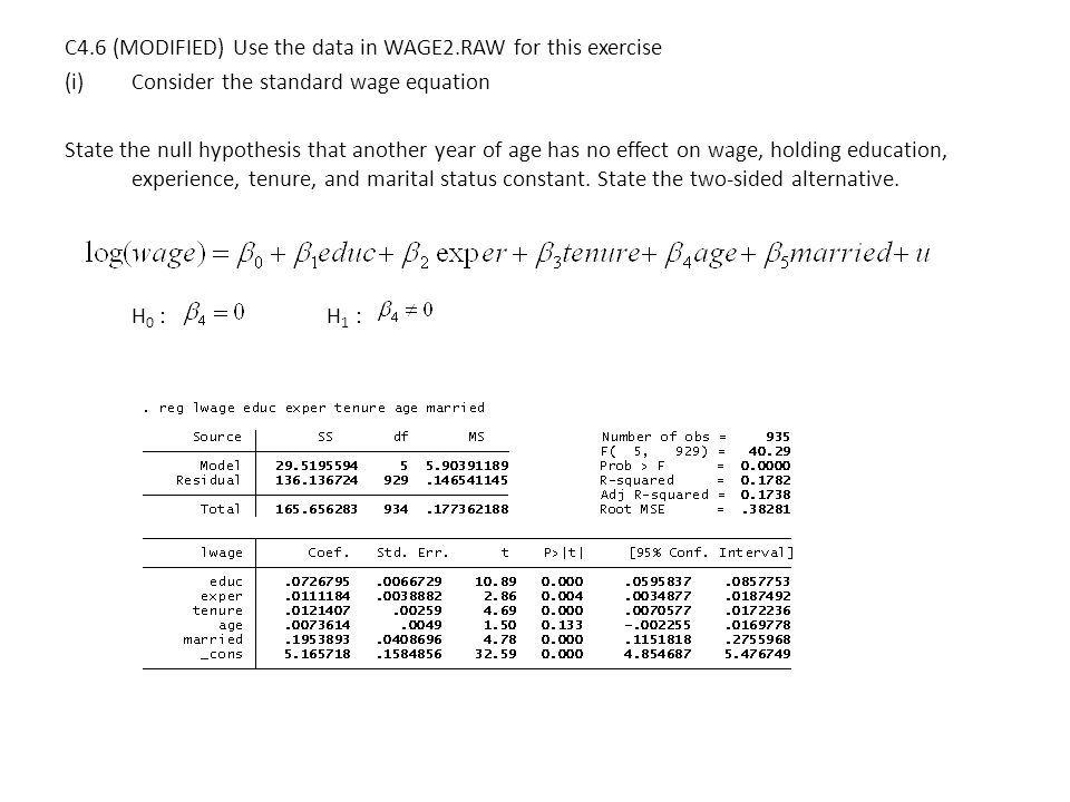 C4.6 (MODIFIED) Use the data in WAGE2.RAW for this exercise