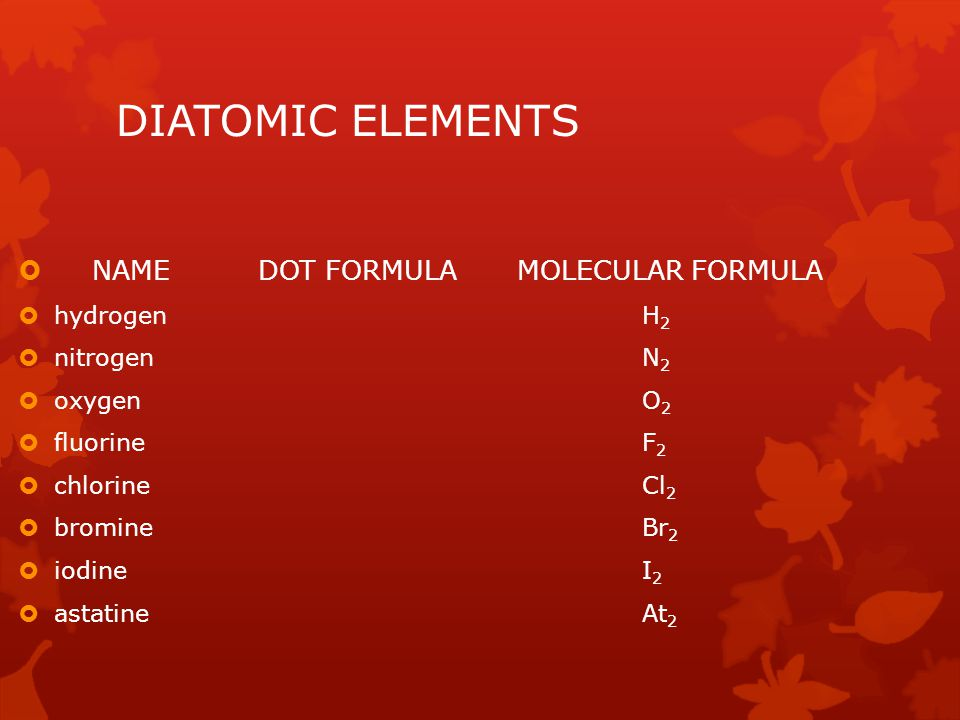 DIATOMIC ELEMENTS NAME DOT FORMULA MOLECULAR FORMULA hydrogen H2