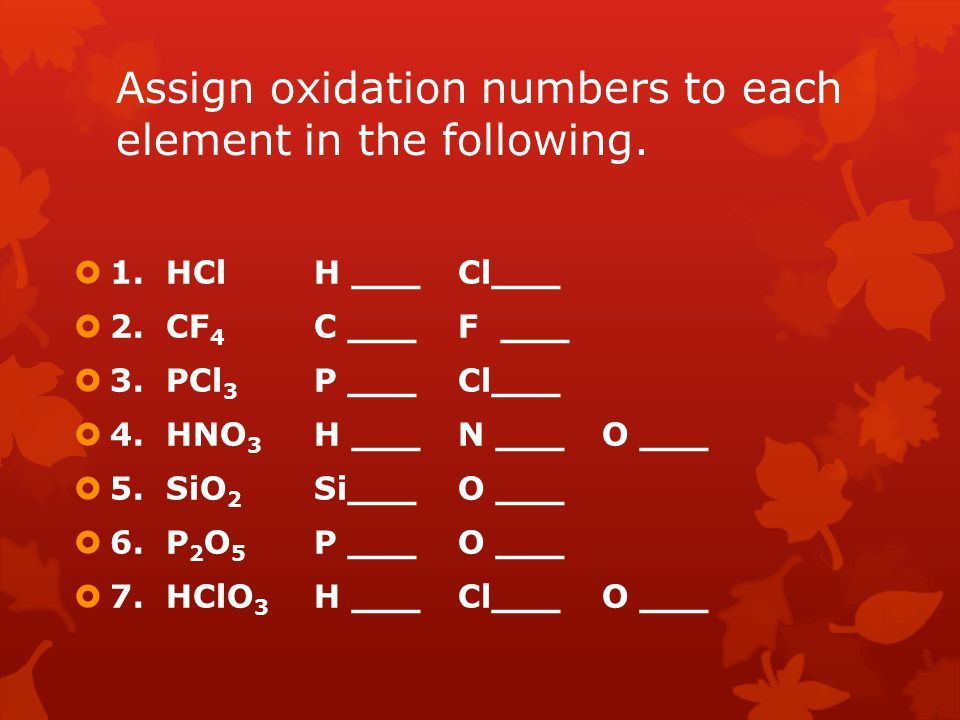 Assign oxidation numbers to each element in the following.