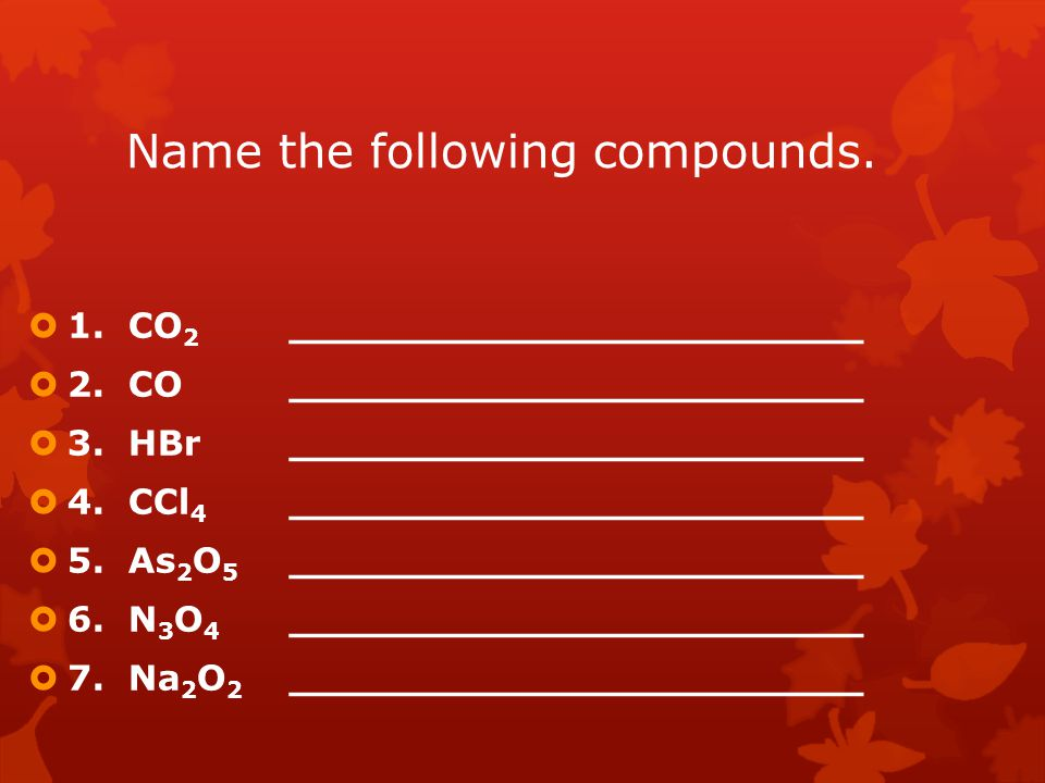 Name the following compounds.