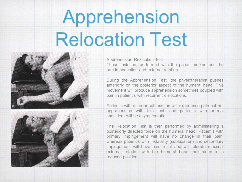 Apprehension Relocation Test
