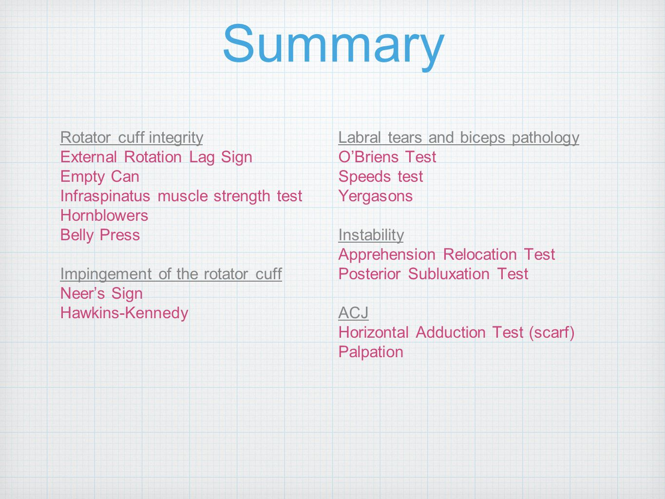 Summary Rotator cuff integrity Labral tears and biceps pathology