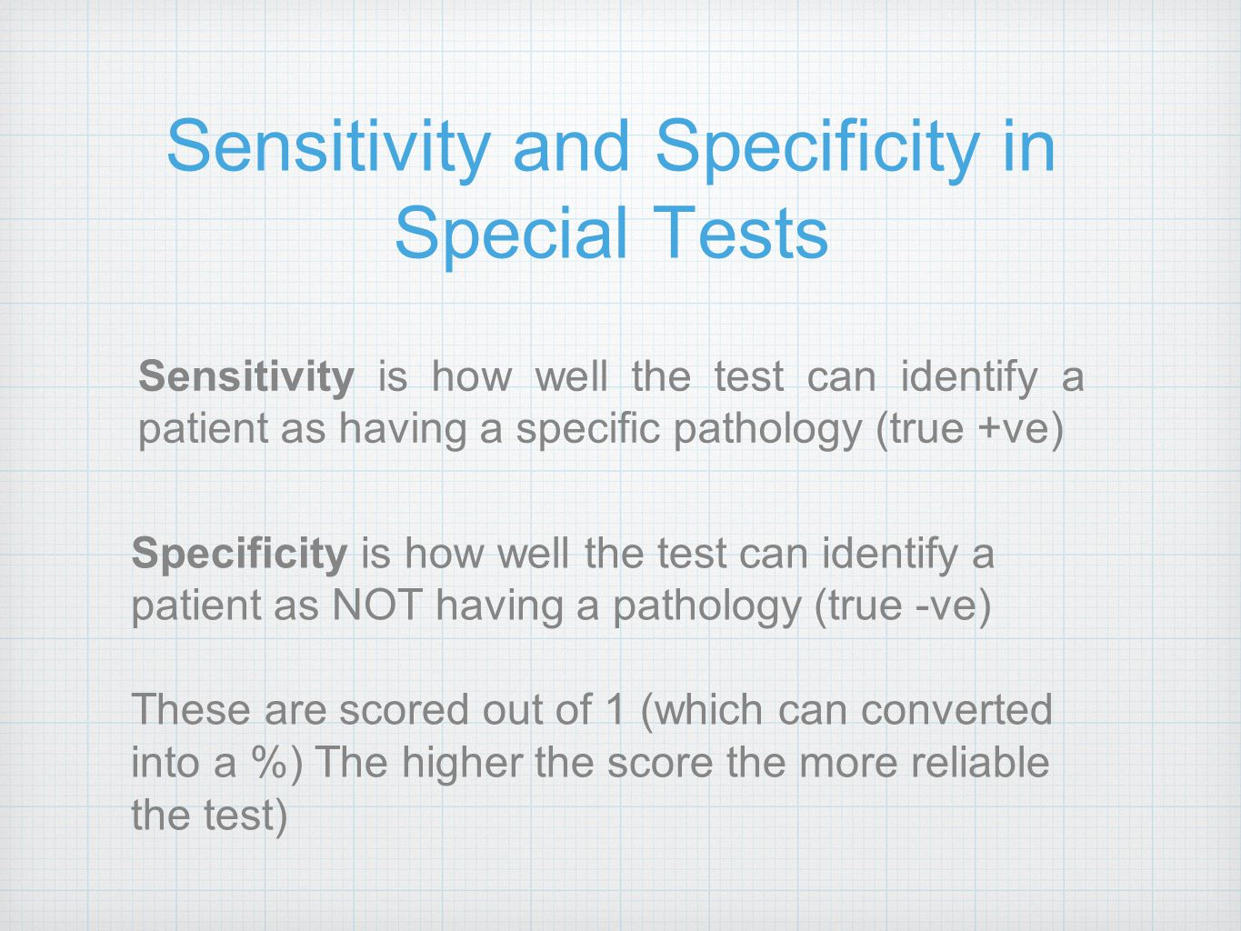 Sensitivity and Specificity in Special Tests