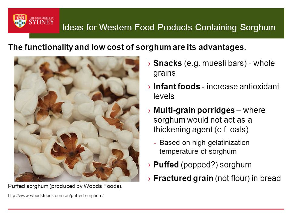Ideas for Western Food Products Containing Sorghum