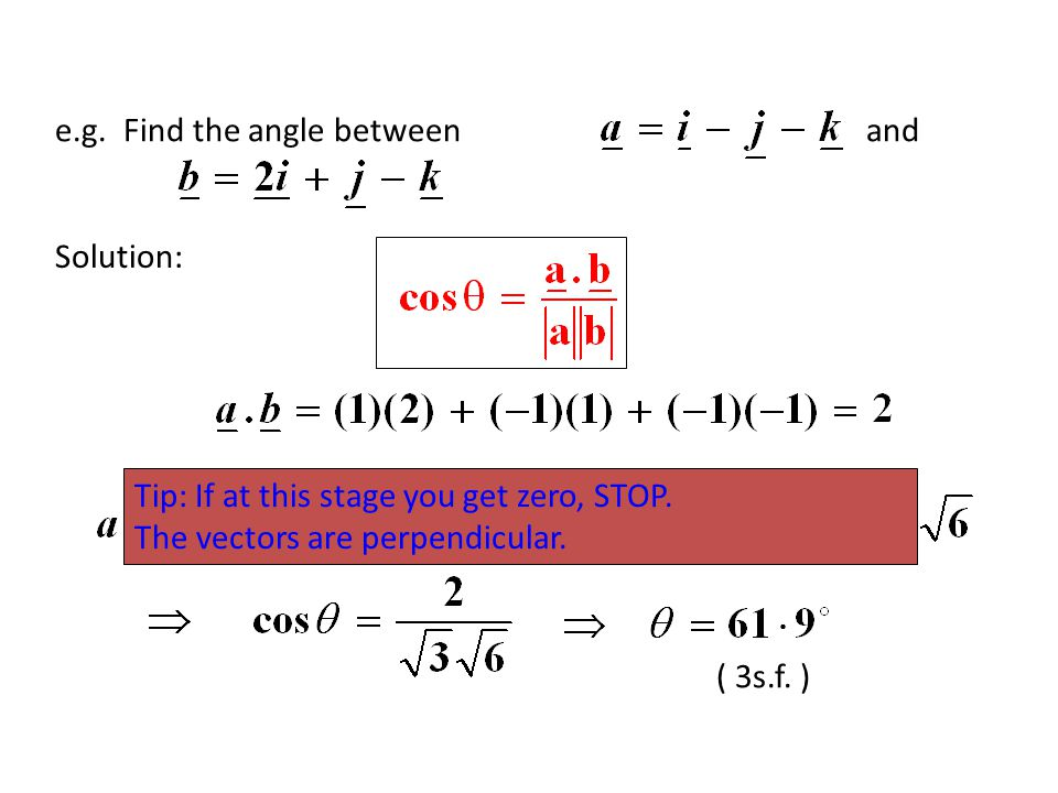 e.g. Find the angle between