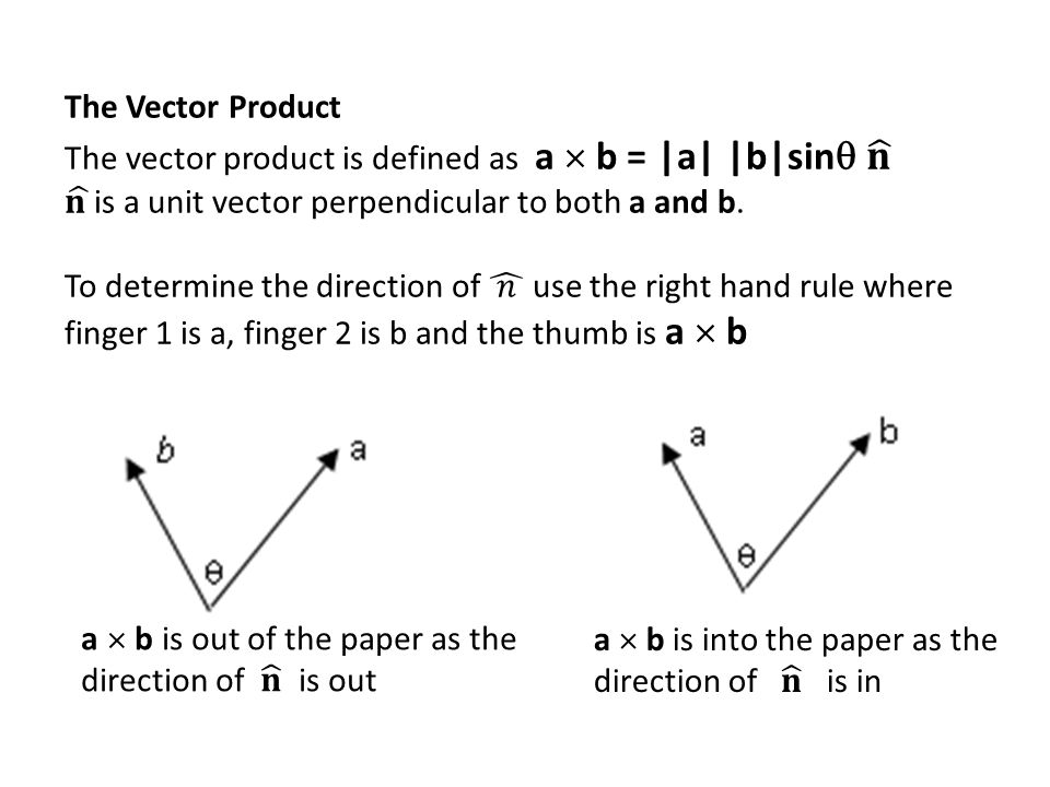 The Vector Product The vector product is defined as a  b = |a| |b|sin 𝐧. 𝐧 is a unit vector perpendicular to both a and b.
