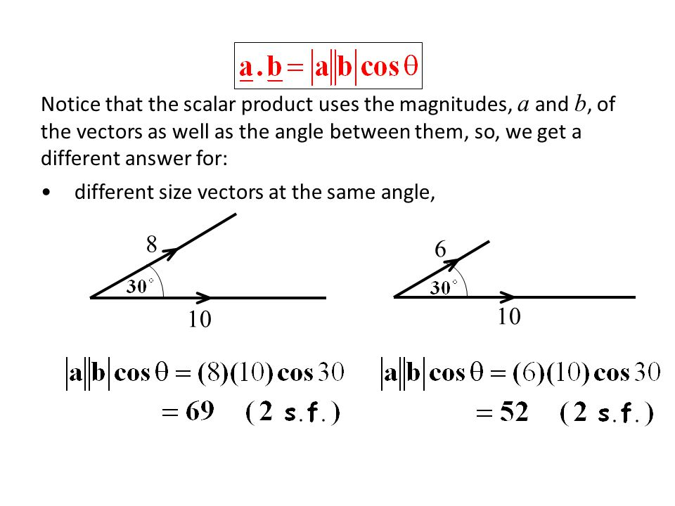 Notice that the scalar product uses the magnitudes, a and b, of the vectors as well as the angle between them, so, we get a different answer for: