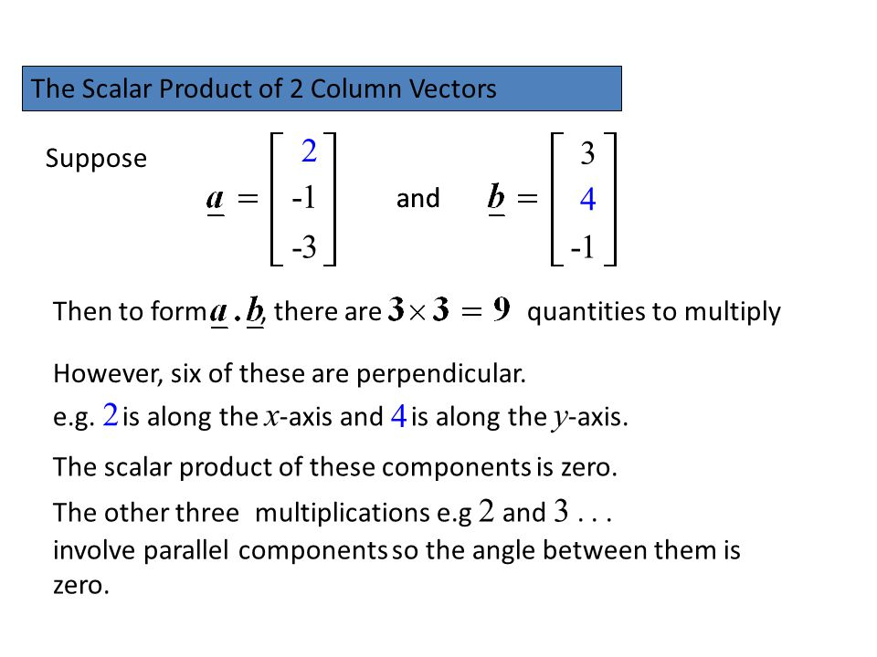 2 3 -1 4 -3 -1 2 4 The Scalar Product of 2 Column Vectors Suppose and