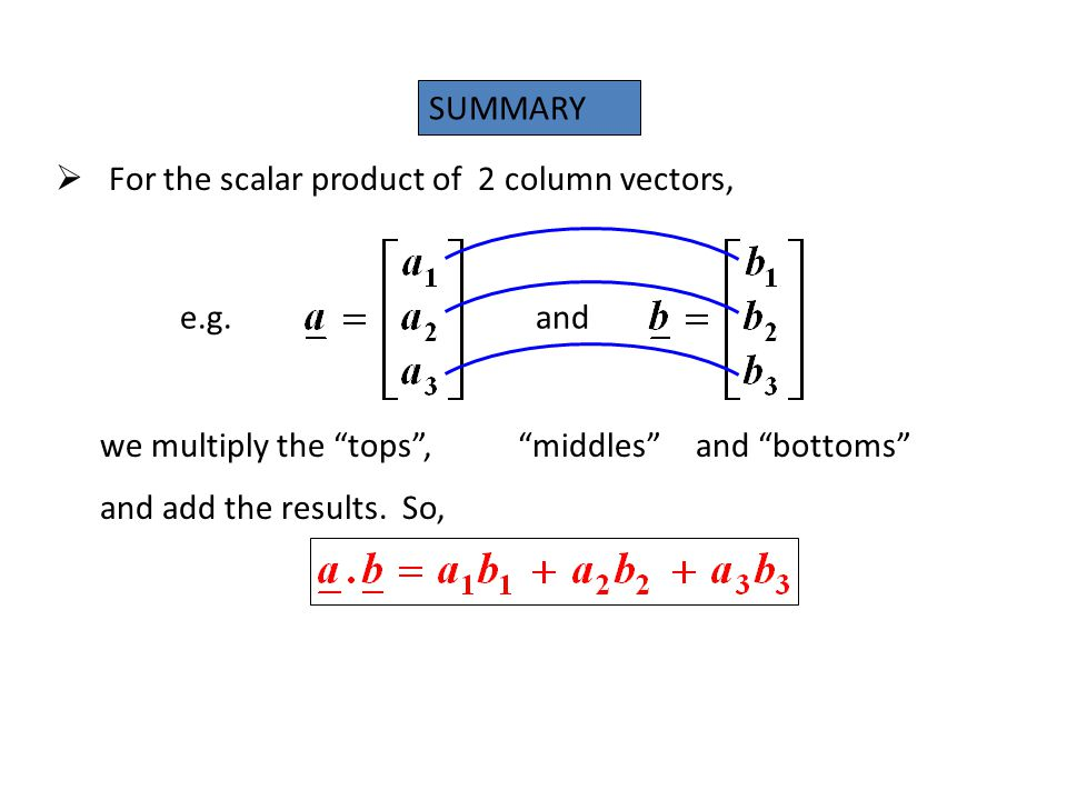 SUMMARY For the scalar product of 2 column vectors, e.g. and. we multiply the tops , middles