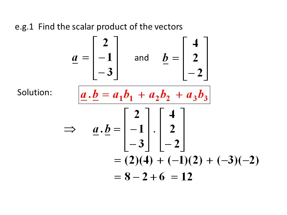 e.g.1 Find the scalar product of the vectors