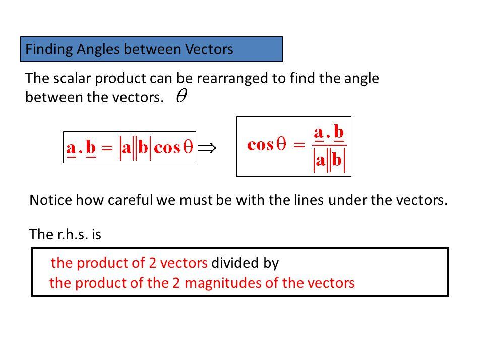 Finding Angles between Vectors