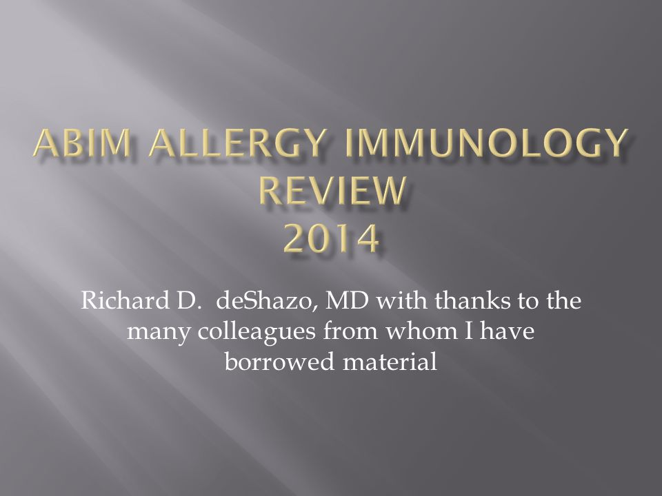 ABIM Allergy Immunology Review 2014