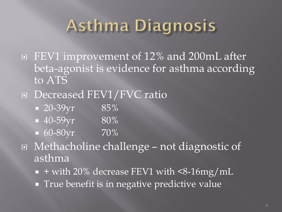 Asthma Diagnosis FEV1 improvement of 12% and 200mL after beta-agonist is evidence for asthma according to ATS.