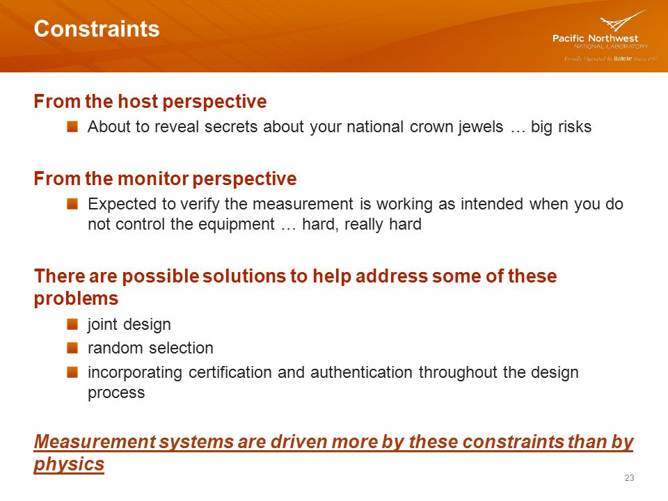 Constraints From the host perspective From the monitor perspective