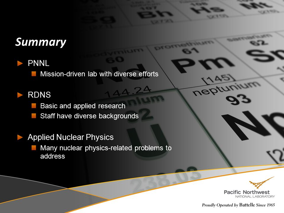 Summary PNNL RDNS Applied Nuclear Physics