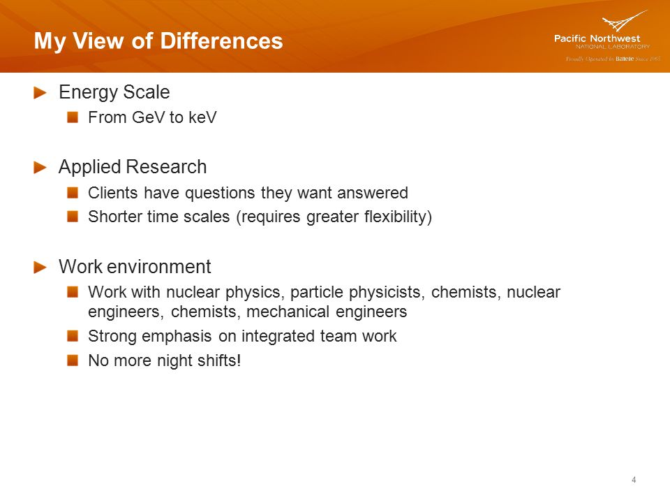 My View of Differences Energy Scale Applied Research Work environment