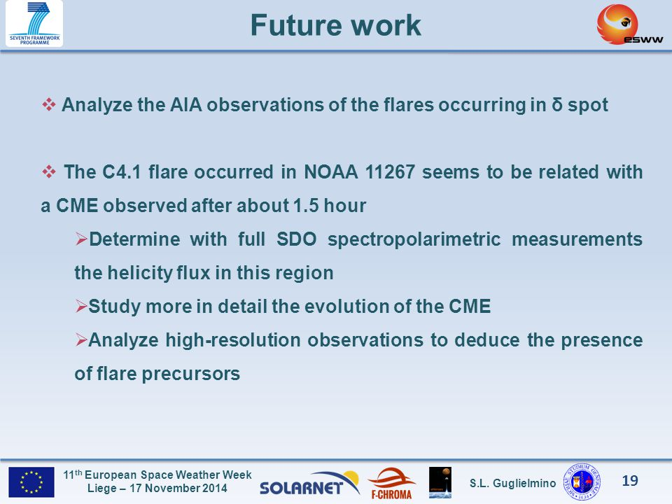 Future work Analyze the AIA observations of the flares occurring in δ spot.