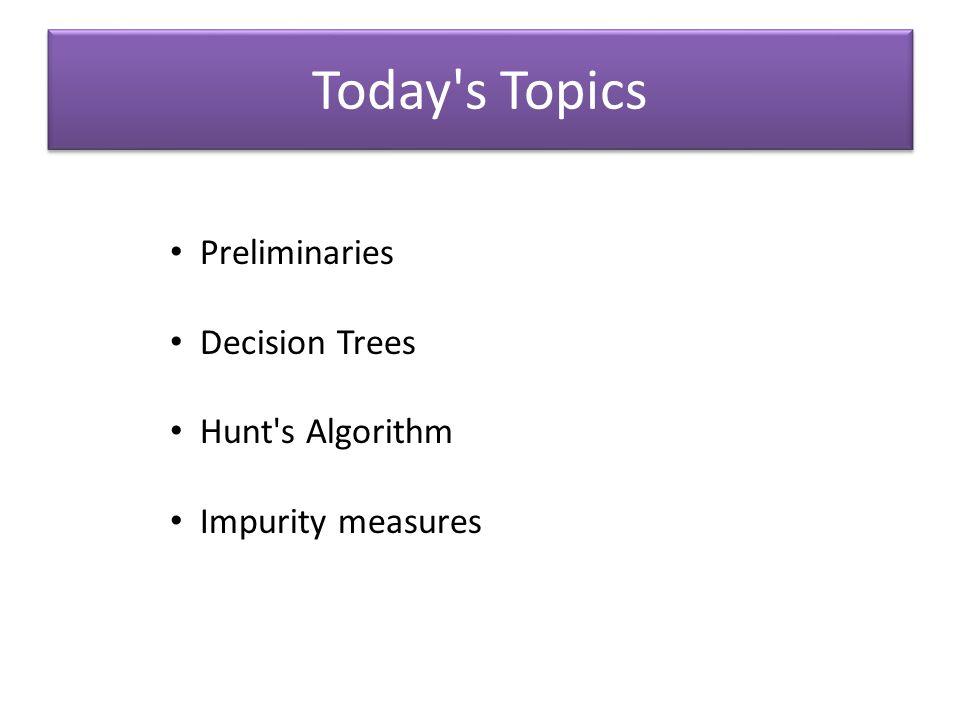 Today s Topics Preliminaries Decision Trees Hunt s Algorithm