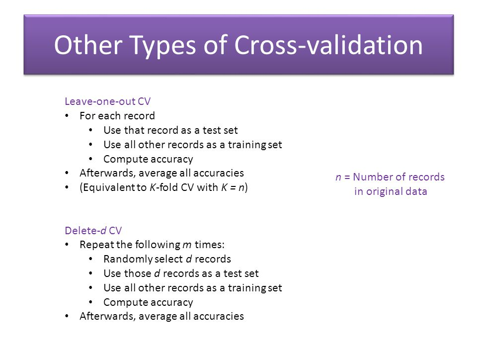 Other Types of Cross-validation