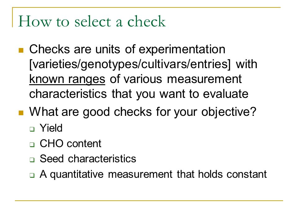 How to select a check