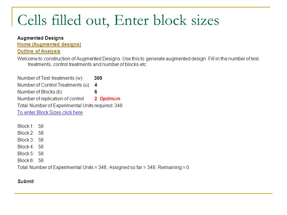 Cells filled out, Enter block sizes