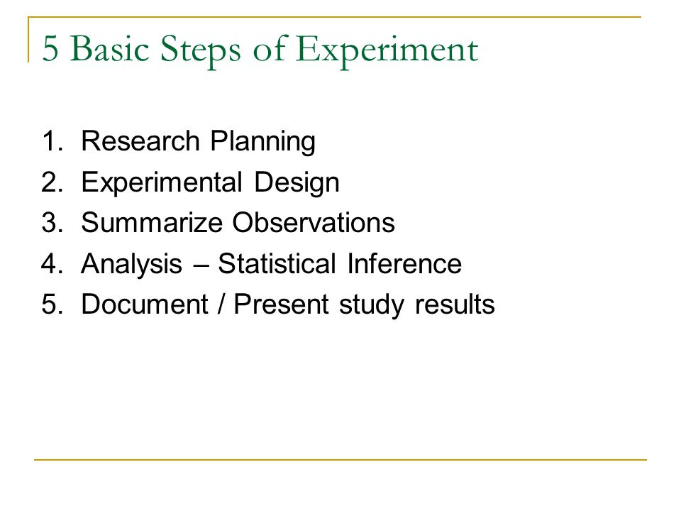 5 Basic Steps of Experiment