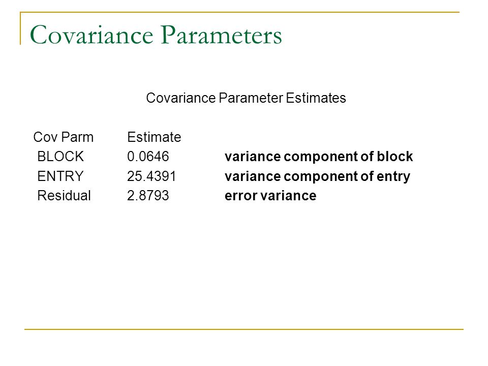 Covariance Parameters