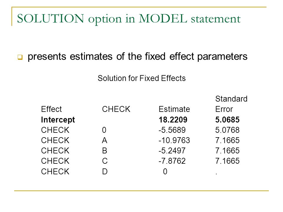SOLUTION option in MODEL statement