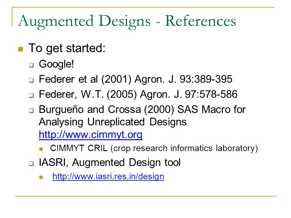Augmented Designs - References