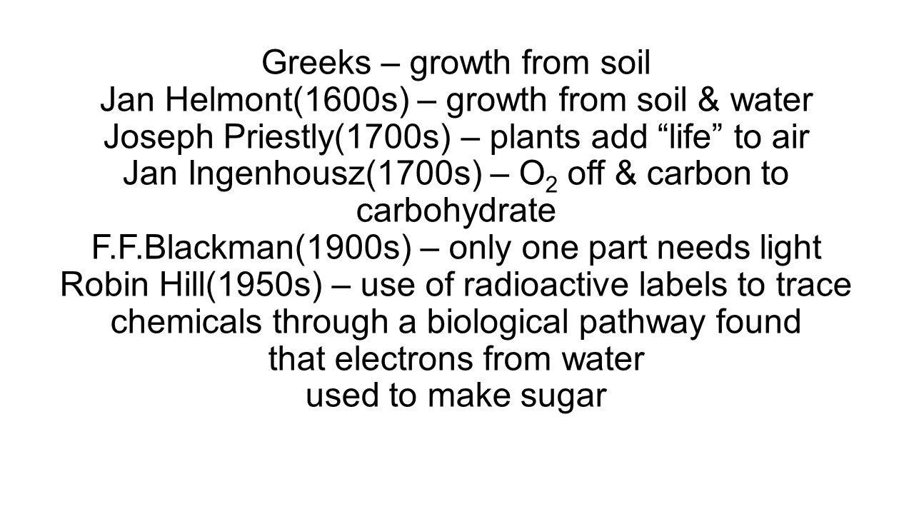 Greeks – growth from soil Jan Helmont(1600s) – growth from soil & water Joseph Priestly(1700s) – plants add life to air Jan Ingenhousz(1700s) – O2 off & carbon to carbohydrate F.F.Blackman(1900s) – only one part needs light Robin Hill(1950s) – use of radioactive labels to trace chemicals through a biological pathway found that electrons from water used to make sugar