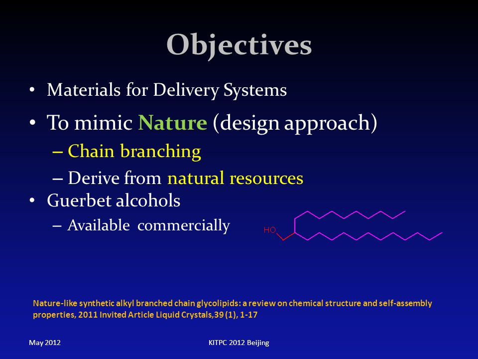 Objectives To mimic Nature (design approach)