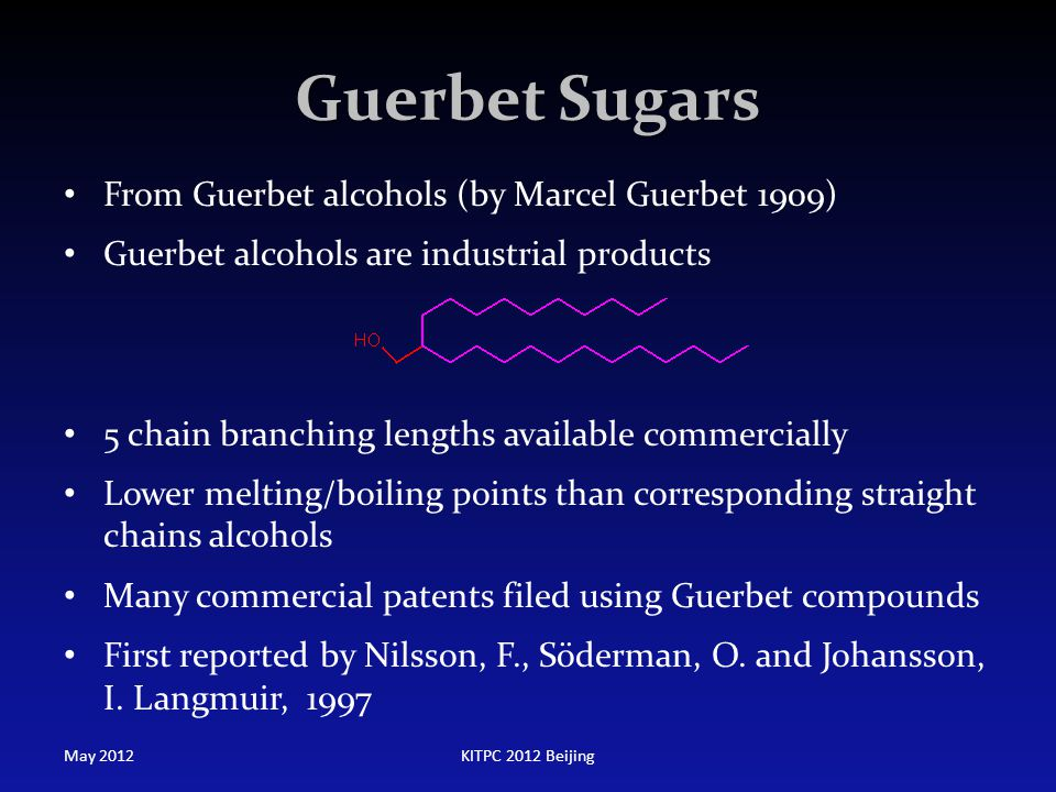 Guerbet Sugars From Guerbet alcohols (by Marcel Guerbet 1909)