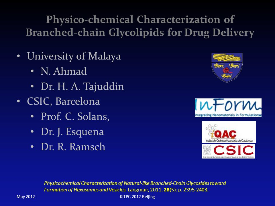 Physico-chemical Characterization of Branched-chain Glycolipids for Drug Delivery
