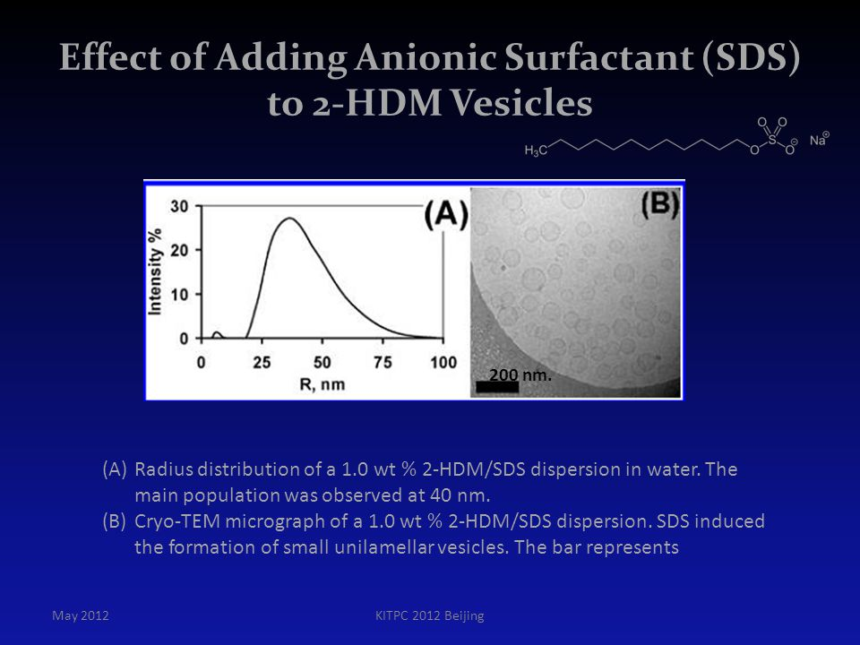 Effect of Adding Anionic Surfactant (SDS) to 2-HDM Vesicles
