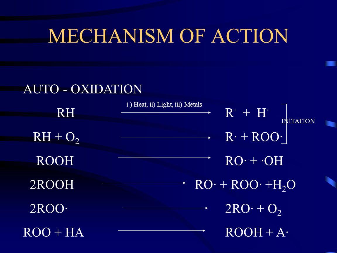 i ) Heat, ii) Light, iii) Metals