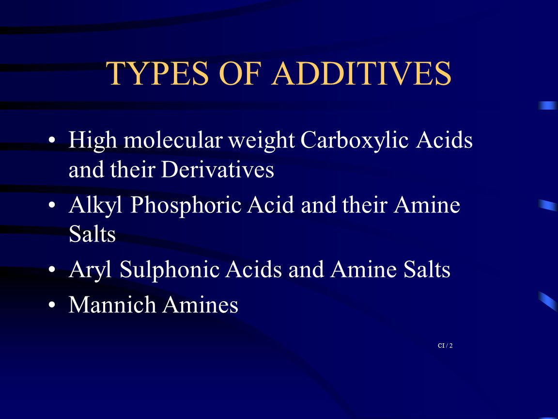 TYPES OF ADDITIVES High molecular weight Carboxylic Acids and their Derivatives. Alkyl Phosphoric Acid and their Amine Salts.