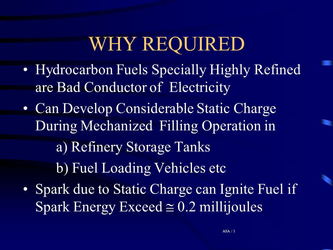 WHY REQUIRED Hydrocarbon Fuels Specially Highly Refined are Bad Conductor of Electricity.