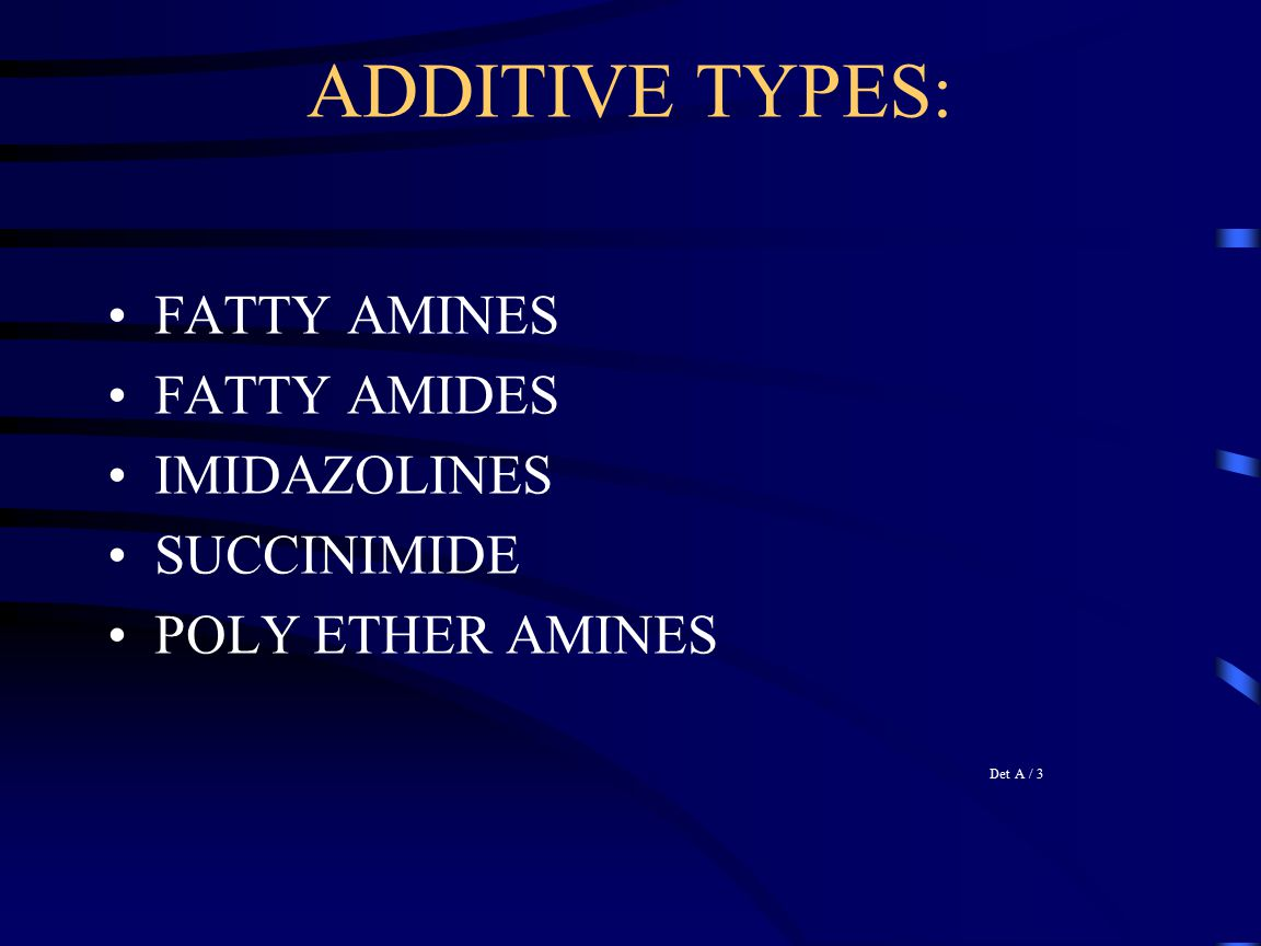 ADDITIVE TYPES: FATTY AMINES FATTY AMIDES IMIDAZOLINES SUCCINIMIDE