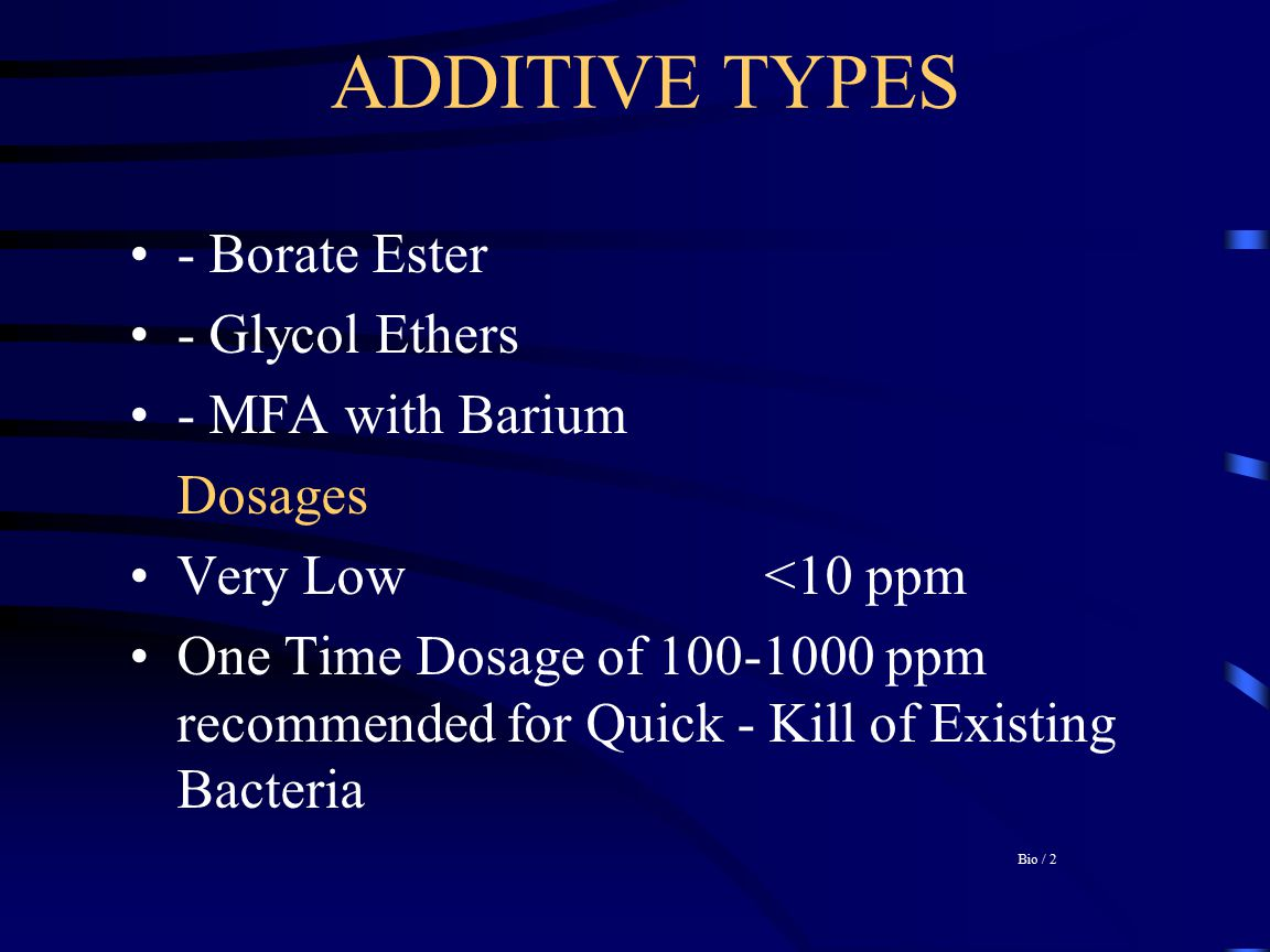 ADDITIVE TYPES - Borate Ester - Glycol Ethers - MFA with Barium