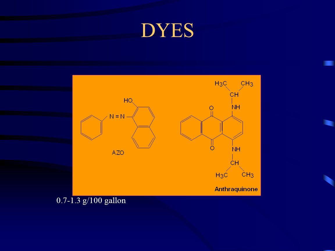 DYES 0.7-1.3 g/100 gallon