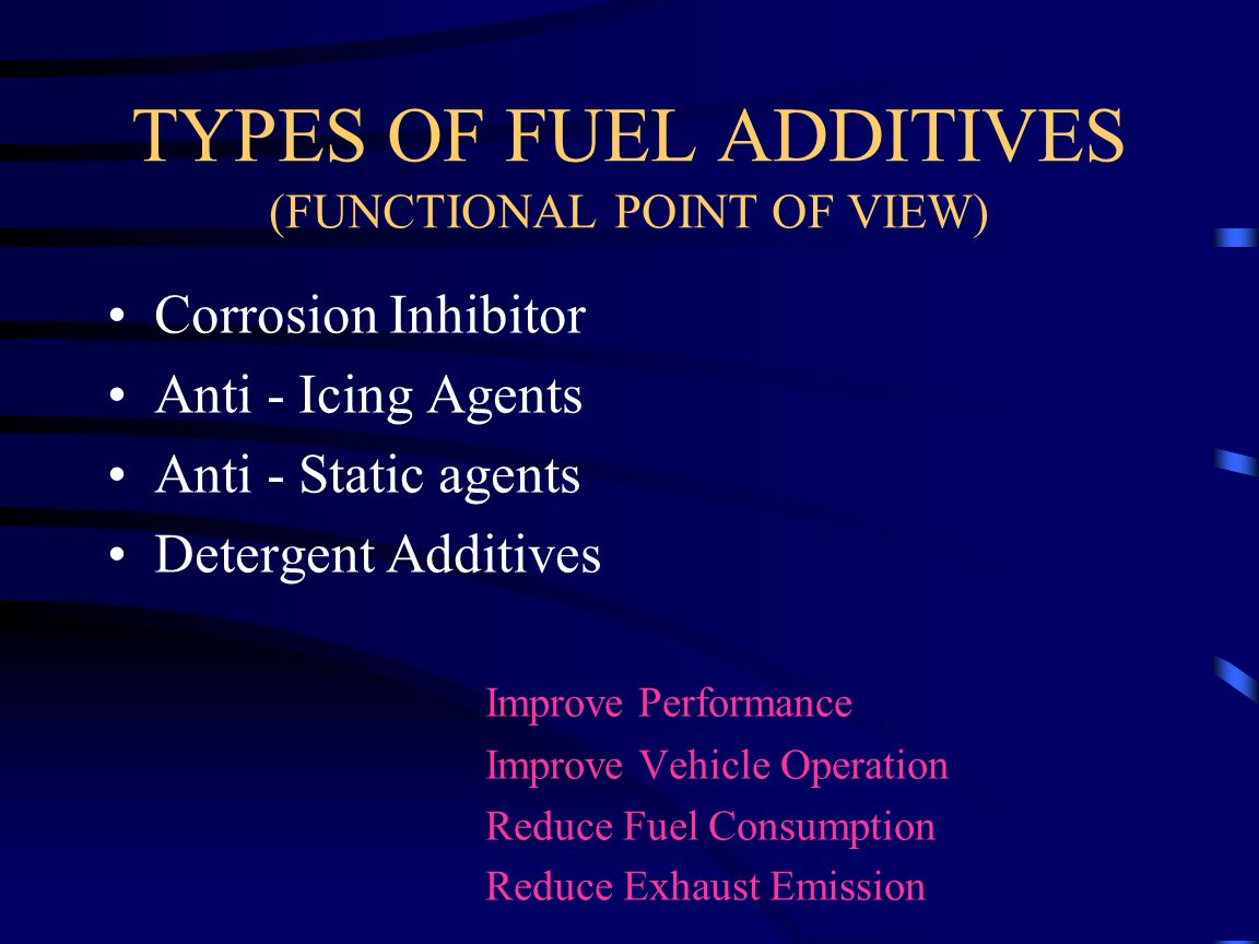TYPES OF FUEL ADDITIVES (FUNCTIONAL POINT OF VIEW)