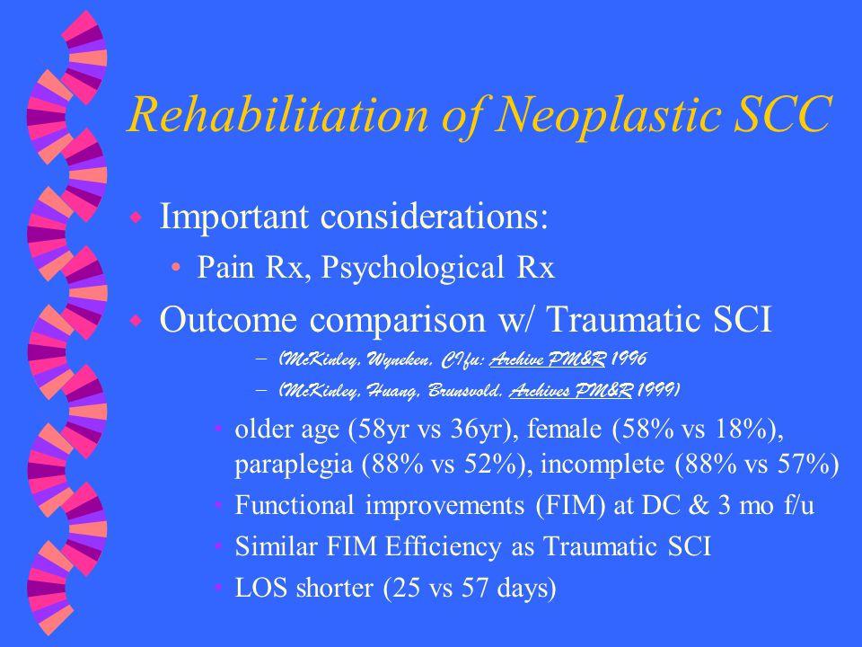 Rehabilitation of Neoplastic SCC